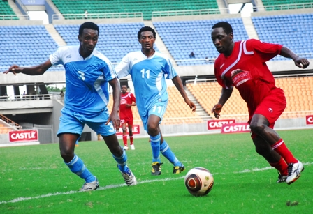 Red Sea's defender Flimon Tsegay (left) and Samuel Berhane during their Kagame Castle Cup group A match