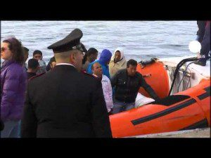 African migrants mostly Ethiopians, Eritreans and Somalis from Libya arrive in Italy