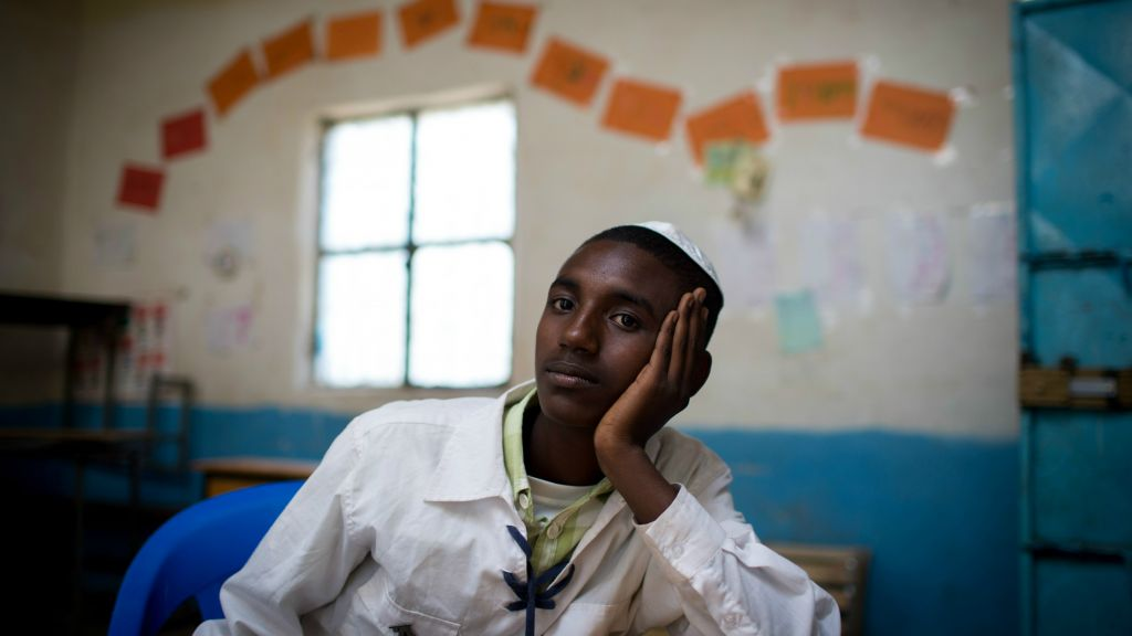 Ermias Gebrie, 17, in one of the Gondar synagogue classrooms on April 25, 2016. Gebrie has been the Bnei Akiva leader in Gondar for the past six months. (Miriam Alster/Flash90)