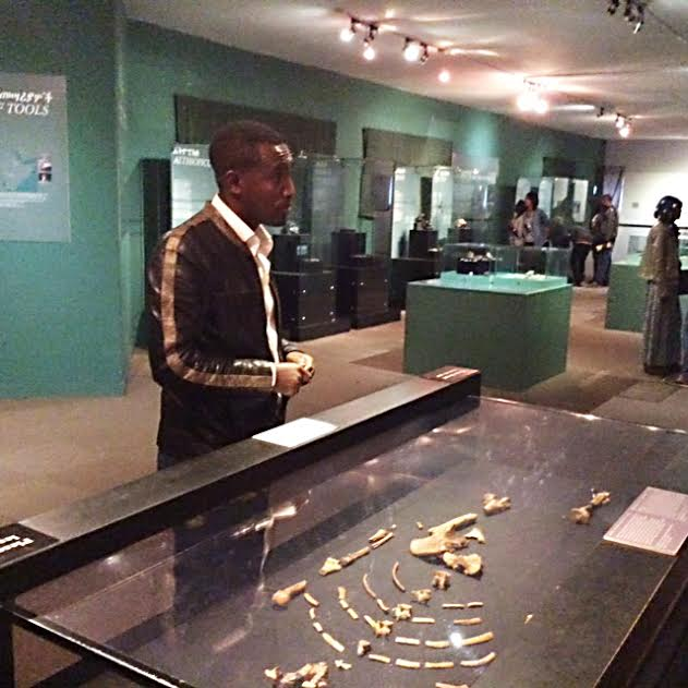 CELEBRITY Ethiopia tour guide Henok T. shows fossil remains of Lucy. LITO B. ZULUETA