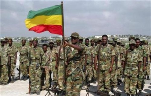 Ethiopian soldiers attend a parade in Afisiyooni air base in Somalia's capital Mogadishu January 23, 2007. (Reuters/Shabelle Media Photo)