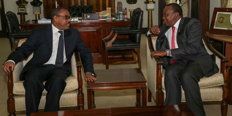 President Uhuru Kenyatta hold talks with Ethiopian Prime Minister H.E Hailemariam Desalegn. FILE PHOTO | NMG