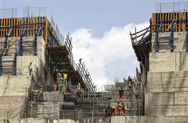 Ethiopia has been constructing the Rennaissance Dam since 2011 over the Blue Nile, one of Egypt's major sources of freshwater, and is expected to be completed within the coming period. (AFP/File)