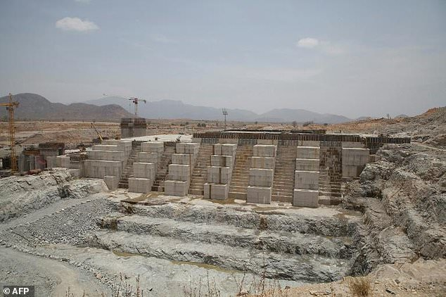 A photo taken on March 31, 2015 shows the Grand Renaissance Dam under construction in Ethiopia near the Sudanese border
