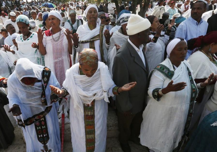 Ethiopians celebrating in Jerusalem