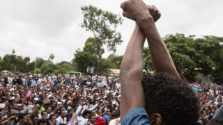 Anti-government protester in Ethiopia