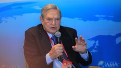 George Soros, chairman of Soros Fund Management and founder of The Open Society Institute, speaks at a sub-forum during the 2013 Boao Forum for Asia in Boao town, Qionghai city, south Chinas Hainan province, 8 April 2013. 