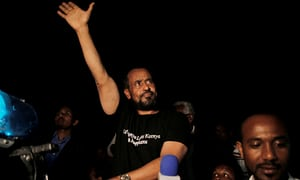 Bekele Gerba waves to his supporters after his release from prison in Adama, Ethiopia on 13 February 2018.