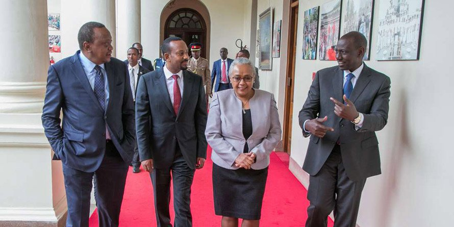 PRESIDENT UHURU KENYATTA (LEFT) WITH FIRST LADY MARGARET KENYATTA, ETHIOPIA'S PRIME MINISTER ABIY AHMED ALI AND DEPUTY PRESIDENT WILLIAM RUTO AT STATE HOUSE, NAIROBI. PHOTO | PSCU