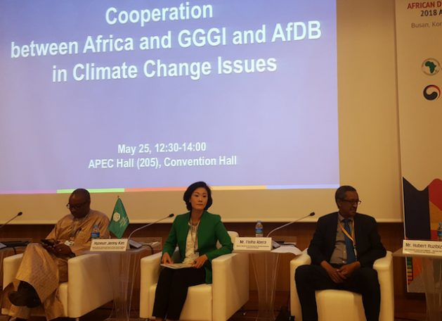 From left, Anthony Nyong, Director of Climate Change and Green Growth at AfDB, Hyoeun Jenny Kim, Deputy Director General of GGGI, Fisiha Abera, Director General of the International Financial Institutions Cooperation (Ethiopia). Credit: Ahn Miyoung/IPS