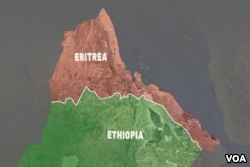 A map of Eritrea and Ethiopia depicts the border between the countries based on an international ruling in 2002. Both countries agreed to accept the terms in full, but Ethiopia prevented demarcation of the border, resulting in 16 years of unresolved tension between the countries. In June 2018, the Ethiopian government said it would agree to implementing the terms of the 2002 ruling in full.