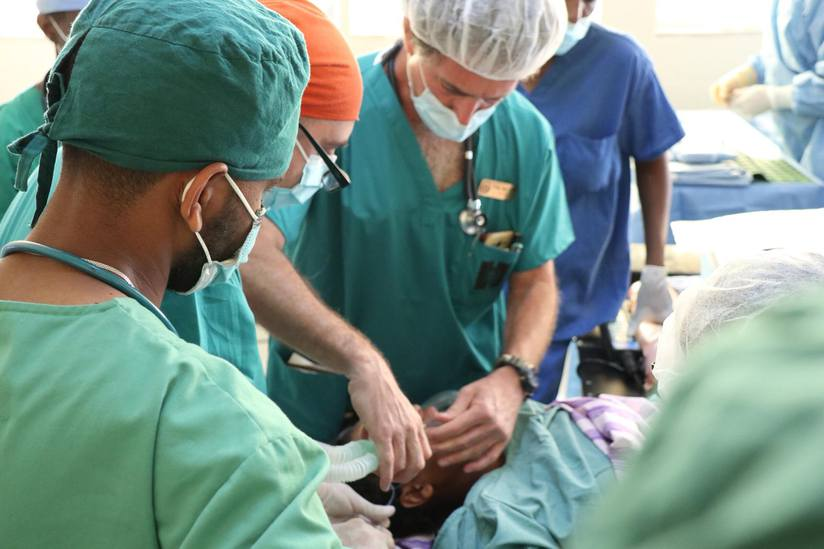 Hadassah doctors prep a patient for surgery at Ayder Hospital in Mekelle.