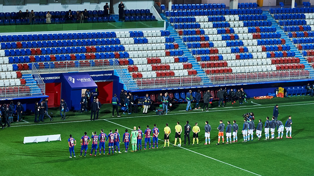 EIBAR, SPAIN - MARCH 10: A general view inside the empty stadium as fans cannot attend the match due to the medical emergency Covid-19 (Coronavirus) prior to the Liga match between SD Eibar SAD and Re