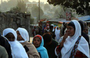 Ethiopians wait in line to cast their votes in Addis Ababa on May 23, 2010.