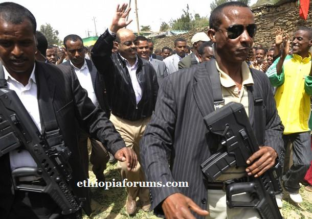 Meles Zenawi  escorted after casting his ballot in the northern Ethiopian town of Adwa, his constituency and birthplace, 985 km (612 miles) from the capital Addis Ababa, May 23, 2010.