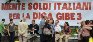 Protesters in Italy against Gibe III dam