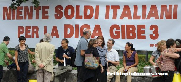 Gibe III dam protesters in Italy