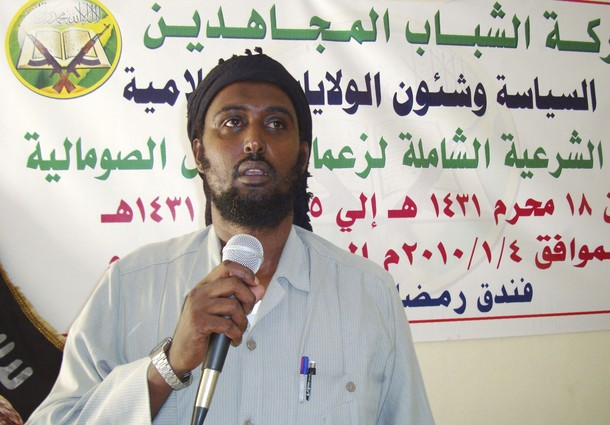 Sheikh Ali Mohamud Rage, al Shabaab's spokesman, speaks in Mogadishu in this undated file photograph. Somalia's al Shabaab Islamist group confirmed on Monday it had carried out two bomb blasts that killed at least 74 people in Uganda and threatened more attacks if the country kept its peacekeeping troops in Somalia.