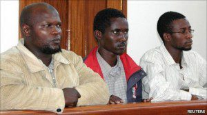 The three men did not speak during their court appearance