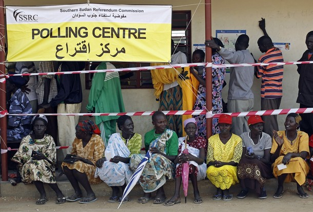 South Sudanese wait to vote at a polling station during the referendum in Juba