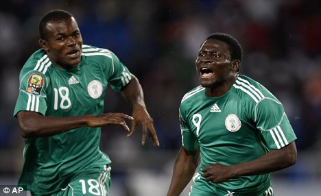 Nigeria's Obafemi Martins, right, celebrates with Victor Obinna