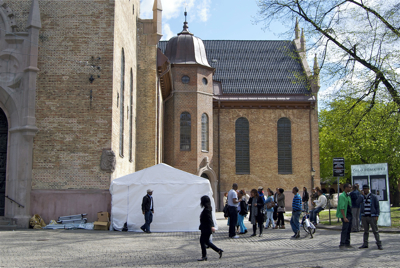 A group of Ethiopian asylum seekers have set up a large white tent outside Oslo Cathedral to protest the Norwegian government's decision to send them home