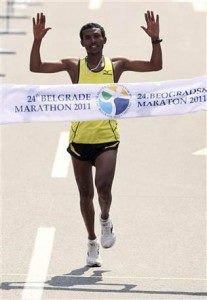 Gebrselassie Tsegaye of Ethiopia won 24th Belgrade Marathon