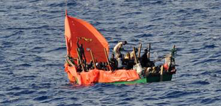 North africa Migrants in fishing boat