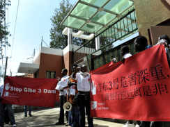 Activists protest againest China Gibe 3 dam fund