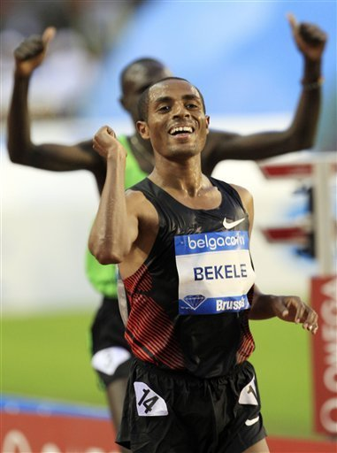 Ethiopia's Kenenisa Bekele wins the 10,000m men's race during the Memorial Van Damme Diamond League