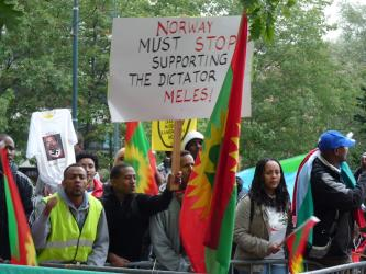 """demonstrators chanting """"shame, shame, shame."""" Most of the demonstrators are Ethiopian-Norwegians who are not at all happy with Meles Zenawi's rule back home."""