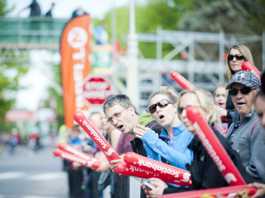 Fans and supporters cheer on the runners during the marathon at Tamarack Ottawa Race Weekend, Sunday, May 24, 2015.
