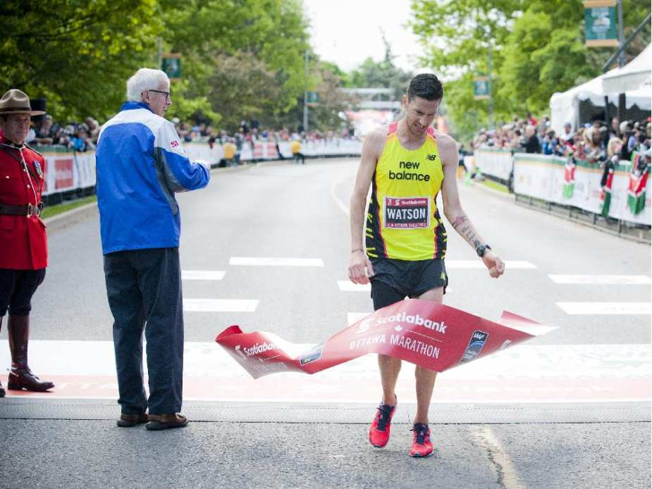 Rob Watson was the first Canadian man to finish the marathon at Tamarack Ottawa Race Weekend, Sunday, May 24, 2015.