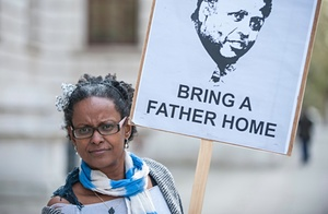 Yemi Hailemariam outside the Foreign Commonwealth Office in April