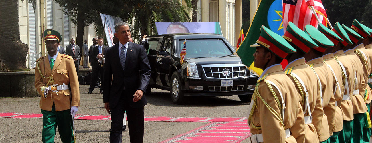 ADDIS ABABA, ETHIOPIA - JULY 27: US President Barack Obama inspects the Ethiopian Honor Guard ahead of a  meeting with Prime Minister of Ethiopia Hailemariam Desalegn in Addis Ababa on July 27, 2015. Barack Obama officially begins a two-day visit to Ethiopia, the first-ever trip by a US president to Africa's second-most populous nation and the seat of the African Union. (Photo by Minasse Wondimu Hailu/Anadolu Agency/Getty Images)