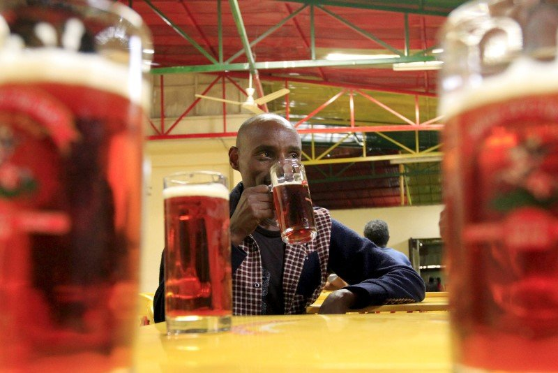 A customer drinks beer at the St. George brewery's public pub in Ethiopia's capital Addis Ababa, March 28, 2015. REUTERS/Tiksa Negeri