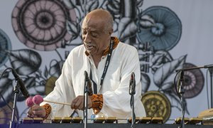 Jazz legend in Ethiopia, Mulatu Astatke plays the vibes at an outdoor festival.