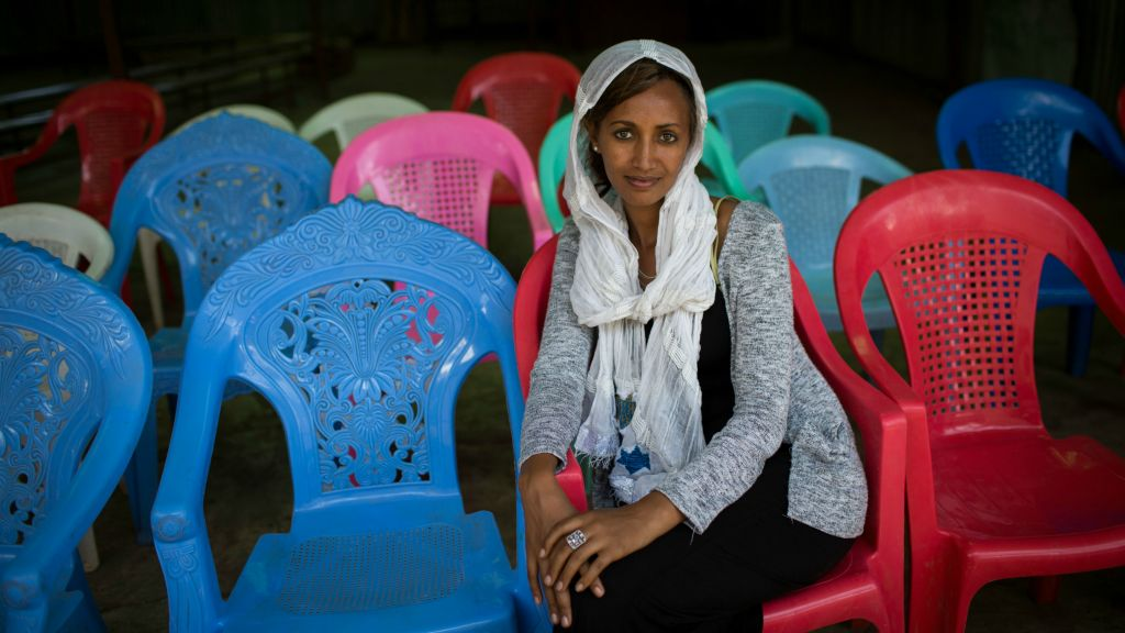 Ambanesh Tekeba, 32 sits in the HaTikva synagogue on April 25, 2016. Tekeba is the head of the Jewish community in Gondar, at a time when few women hold leadership positions. (Miriam Alster/Flash90)