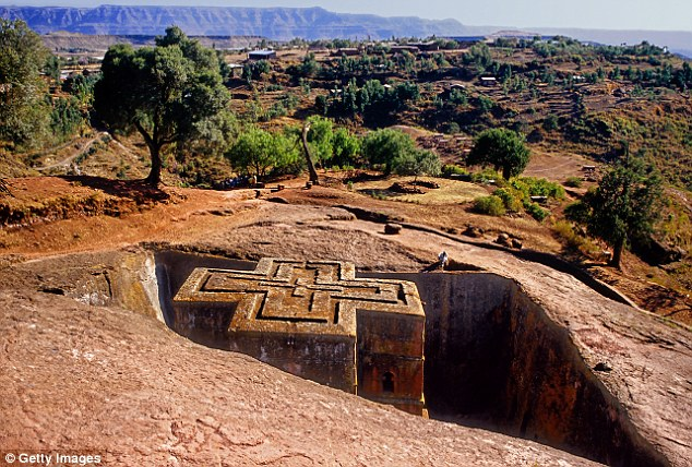 Bete Giyorgis, one of the subterranean churches at Lalibela, where Timkat was celebrated