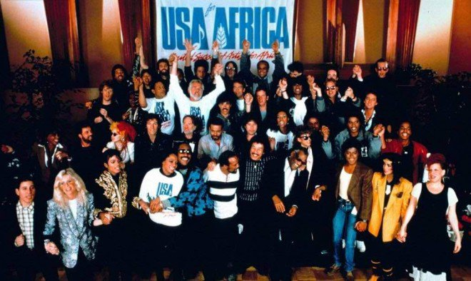 """DIANA Ross and Michael Jackson lead USA for Africa in the singing of the 1984 hit record, """"We are the World."""" Relief campaign was meant to aid victims of the 1984 Ethiopian famine."""
