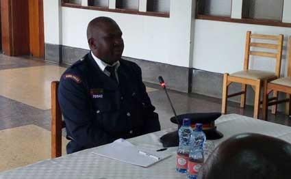 Constable Denis Moss Kirui when he appeared for