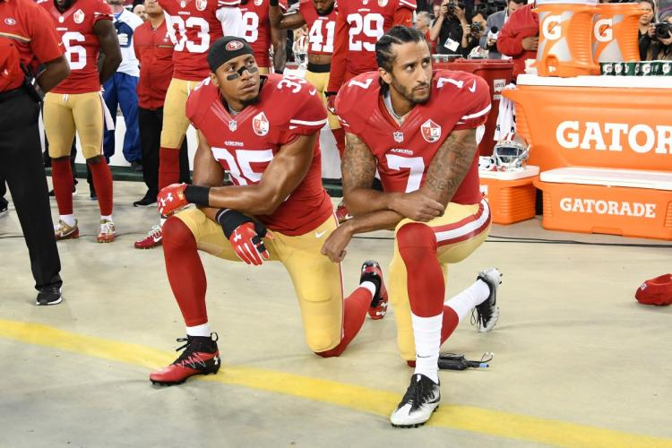 He can relate to Colin Kaepernick (above), who faces backlash in this country for his own peaceful protest.