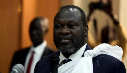 South Sudan's opposition leader Riek Machar speaks during a briefing in Ethiopia's capital Addis Ababa April 9, 2016 (Photo Reuters/ Tiksa Negeri)