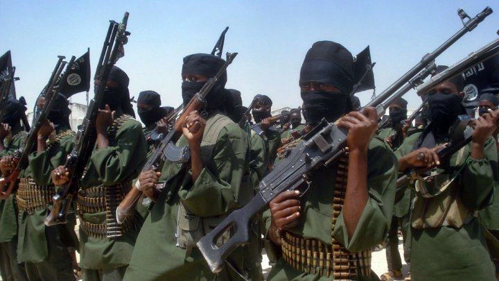 Abdurashid Abdulle, AFP file picture| Al Shabaab fighters perform a military drill in Somalia