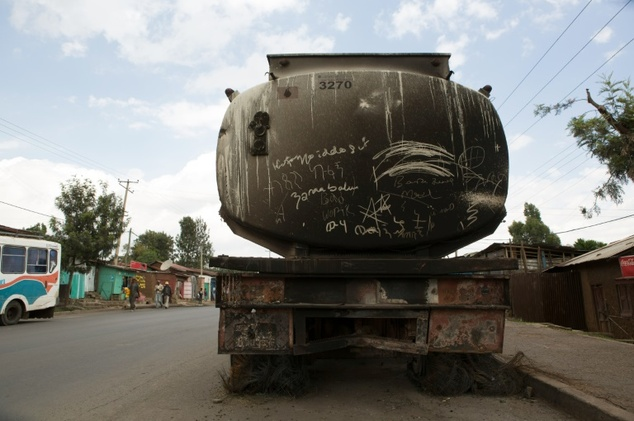 A destroyed tanker pictured in Sebeta, central Ethiopia on October 13, 2016 after protesters took to the streets to vandalise property thought to belong to t...