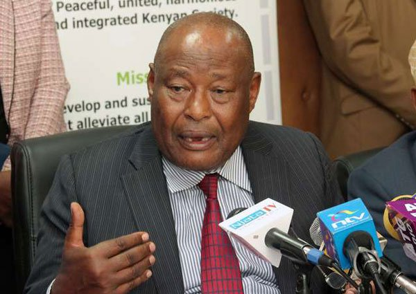 NCIC chairperson Francis Ole Kaparo addresses the media during the launch of a report on October 3, 2016 at their offices in Nairobi. He said the commission was proposing that firms and counties which condoned unfair hiring be penalised. PHOTO | DENNIS ONSONGO | NATION MEDIA GROUP