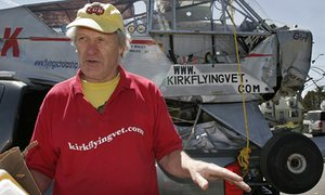 Maurice Kirk and his damaged vintage plane Liberty Girl in 2007.