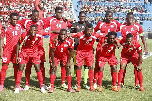 Harambee Stars team before their 2018 Fifa World Cup qualifier match against Blue Sharks team from Cape Verde at Nyayo Stadium on November 13, 2015. PHOTO | MARTIN MUKANGU