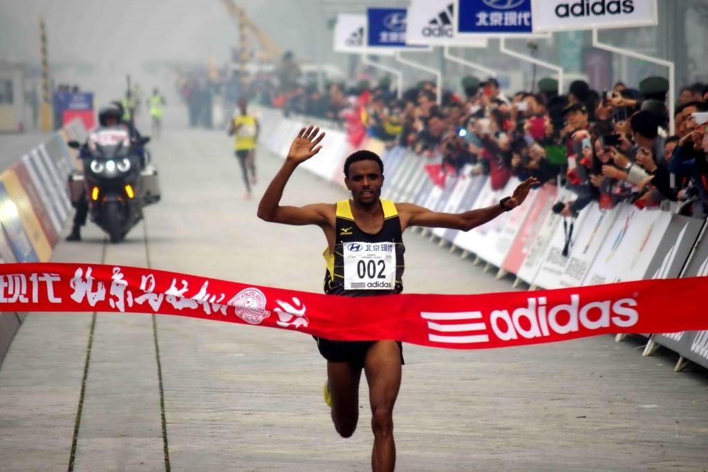 Girman Birahun pictured winning the Beijng International Marathon in 2014 ©Getty Images