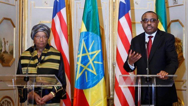 "Liberian president Ellen Johnson Sirleaf with Ethiopian Prime Minister Hailemariam Desalegn, commended Ethiopia's victory over Italian troops in the famous battle of Adwa saying it was a victory for the ""African spirit"". - Africa News"